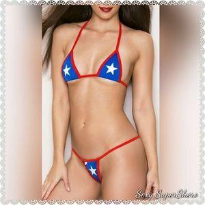 🆕Star Spangled Hottie Red & Blue Micro Bikini Set